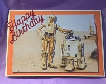 3d retro star wars birthday card with R2D2 and C3PO,a name,age or family member can be added if requested when you buy the card
