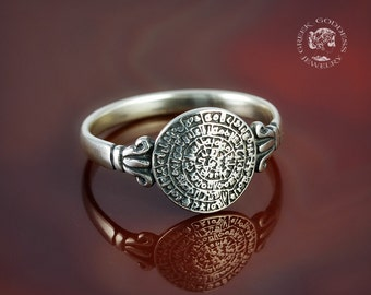 Phaistos Disc silver ring, antique ring, Phaistos Disk, silver Phaistos Disc, greek ring, ancient ring, greek jewelry, greek