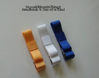 Hair Clips for Girls Toddler Barrette Kids Hair Accessories Grosgrain Ribbon No Slip Grip Orange White Blue