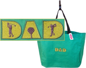 Gof Dad Tote Bag + Name Custom Embroidered Monogram