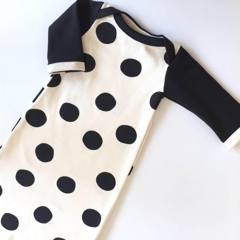 Organic Baby Set BLACK DOTS layette, sleep sack, newborn gown ...