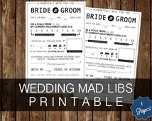 WEDDING Mad Libs PRINTABLES - 1 Page - Instant Download