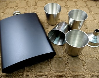 Custom Personalized 8oz Matte Black Steel Flask Gift Set Wedding Favor , Your Handwriting, Text, Logo
