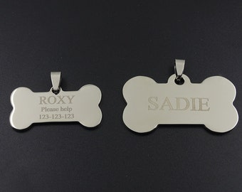 Personalized Laser Engrave Steel Bone Pet ID for Dog