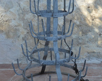 French Vintage Wine Bottle Drying Rack