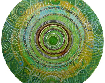 Abstract modern wall painting. Round, gift, Geometric circles. Metallic.Contemporary, steampunk, cool,visionary, mandala, 10 inch on wood