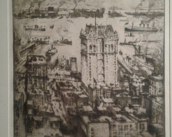 """Joseph Pennell """"The West Street Building"""" from the Singer Building, Etching 1908, Wuerth # 491"""
