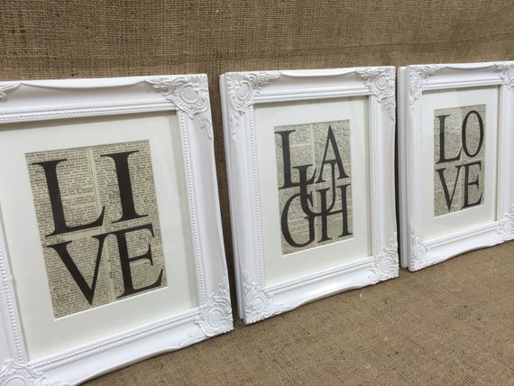 LIVE LAUGH LOVE Dictionary Prints / Set of 3 Framed Word Art Prints / 8x10 White Framed Typography Set / Inspirational Words / Life Quotes