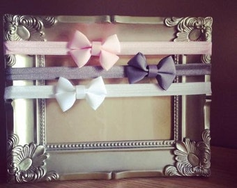 Mini hair bows - on headband or clip