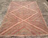 """Area rug, Neutral Kilim rug,  113"""" x 74"""", Vintage Turkish kilim rug, kilim rug, vintage rug, bohemian rug, Turkish rug, rug, 555"""
