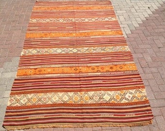 "stripped rug RUSTIC Turkish rug, 9'3"" x 5'4"", Kilim rug, Vintage Turkish kilim rug, Orange area rug, rugs, vintage bohemian rug, Turkish rug"