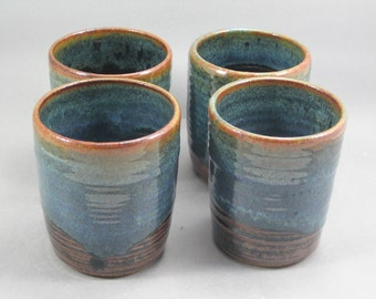Pottery Juice Tea Cup Set of 4 Rutile Blue Tenmoku CHUNTEN06