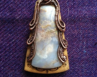 Moss Agate Wrapped Pendant