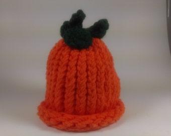 Preemie Pumpkin Cotton Hat Hand Knit Loom