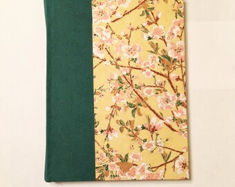 Yellow and Green Floral Blank Hardcover Notebook Sketchbook Journal - Handmade Hand bound Book