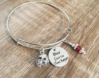 Ohio State Buckeyes bangle charm bracelet / OSU football / helmet charm / Red Buckeyes bracelet / Hand stamped / Ohio State fan jewelry