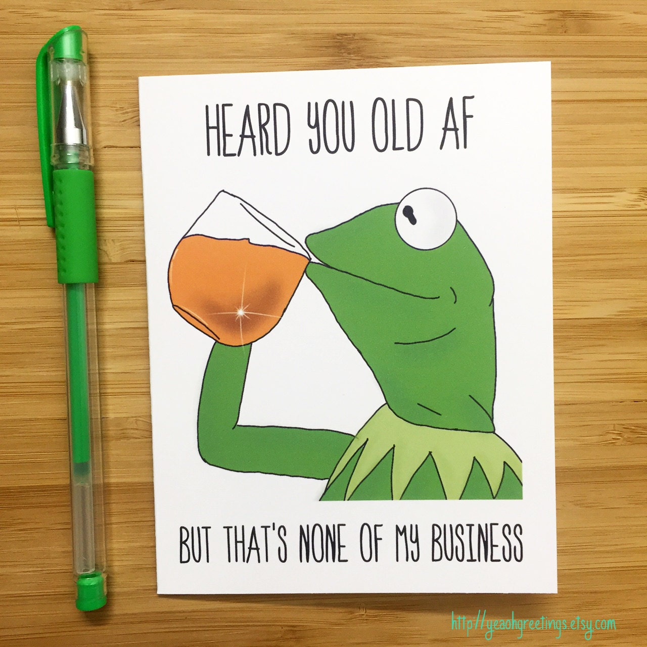 Funny Birthday Card Kermit the Frog Kermit Muppets Meme – Happy Birthday Cards Funny