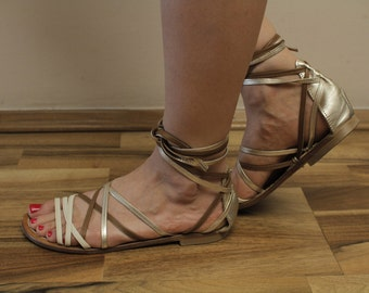Max&Co. Ancient style lace up Gold Brown Strappy sandals Roman Sandals  EU38 UK5 US 7 1/2