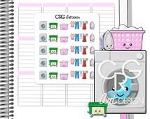 25 Kawaii Laundry Stickers  | Planner Erin Condren Plum Planner Filofax Sticker