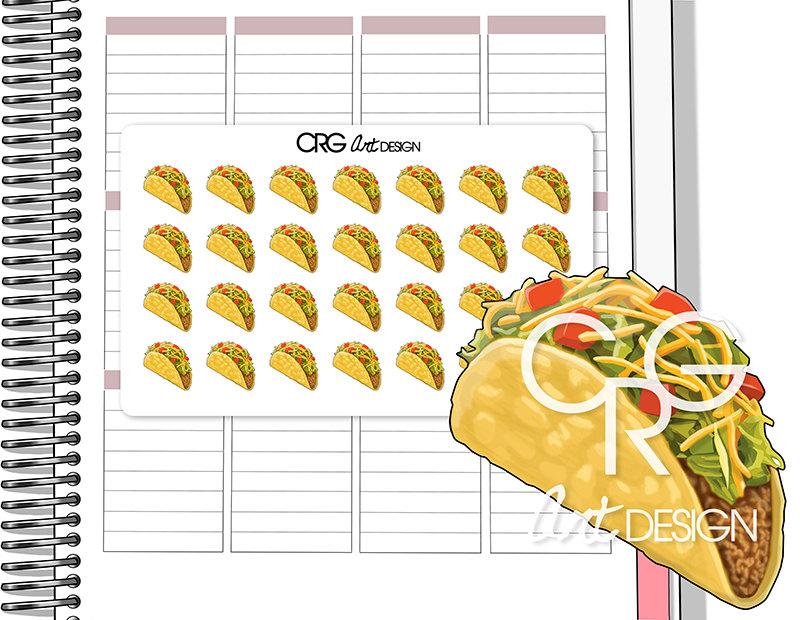 Taco Stickers | Planner Erin Condren Plum Planner Filofax Sticker