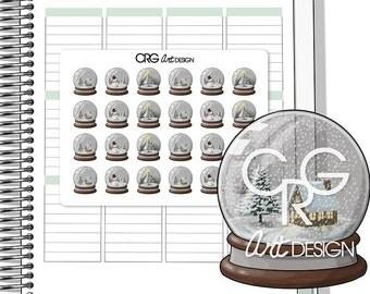Snow Globe Stickers  | Planner Erin Condren Plum Planner Filofax Sticker