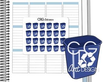 Recycling Bin Stickers | Planner Erin Condren Plum Planner Filofax Sticker