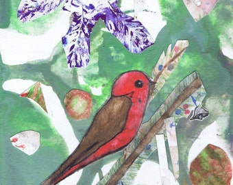 Set of ten Christmas cards with envelopes, Red Bird in Tree wth Snowflakes, Collage holiday Card, Peace on Earth, Red Bird in Tree