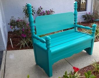Sold!! Indoor/Outdoor Solid Wood Repurposed Headboard Bench