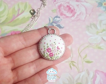 Flower Polymer Clay Pendant - Vintage Style