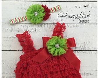 Christmas Red Lace Petti Romper and matching rhinestone lime green flower headband - newborn infant toddler baby girl - Santa photo outfit