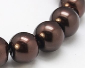 "Chocolate Brown 8mm Round Glass Pearl Beads (32"" Strand)"