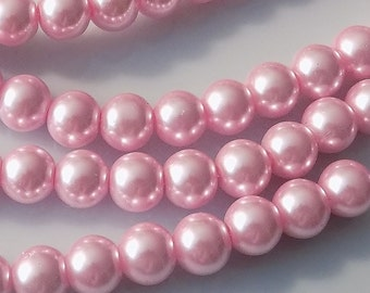 """Pink 10mm Round Glass Pearl Beads (32"""" Strand)"""
