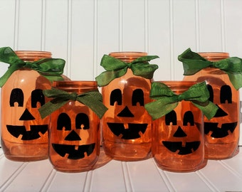 Pumpkin Mason Jars - Great for Battery Candles or Flowers