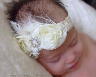 Vintage ivory lace headband; shabby flower headband; flower girl headband; jewelled headband