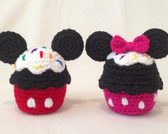 Mickey and Minnie Inspired Cupcake Amigurumi