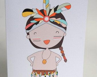 BIRTHDAY CARD GIRL -- Tribal Girl -- Greeting Card Girl