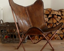 LEATHER BUTTERFLY chair  hand made frame - ( FRAME only  )