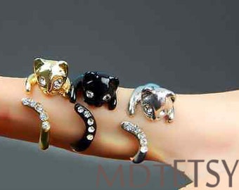Kitty Cat Ring Swarovski Crystals Adjustable Free Size Wrap Ring
