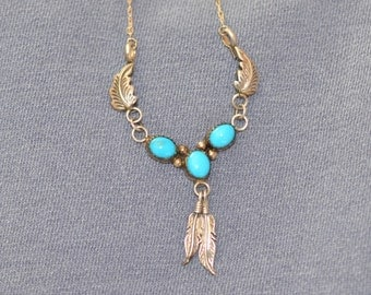 Sterling Silver Native American Navajo Neclace Feathers Signed C S