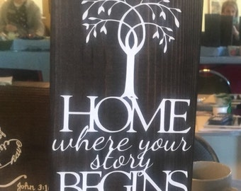Home-Where Your Story Begins wooden sign