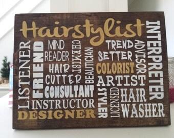 Hairstylist Sign Salon decor, Hairdresser, Beautician, stylist, coiffeur,