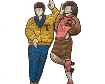 Vintage Roller-Skating Couple Patch