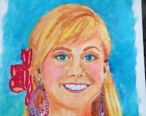 Ein Aquarell <b>Shawn Johnson</b> Portrait gerahmt - il_214x170.904311388_6bti