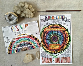 Mandala Wedding Invitation & RSVP - Custom Wedding Stationary -  Watercolor - Made to Order