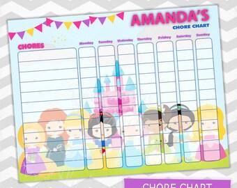 Princess Chore Chart / Kids Chore Chart / Printable File