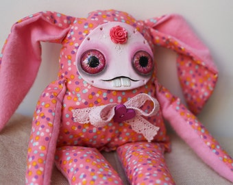 READY TO SHIP! Dorothy the creepy cute art doll, shelf sitter, pastel goth, adorable interiorBunny; collectible doll; soft grunge