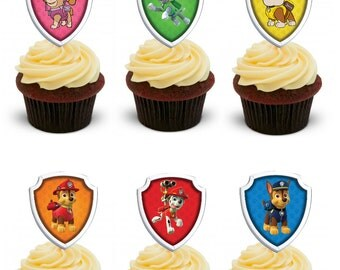 Paw Patrol cupcake toppers- party circles- favor tags