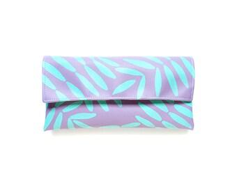 Clutch purse, tropical lilac and turquoise clutch, vibrant handbag, vegan clutch purse, floral purse, colorful flora clutch, palm leaf bag