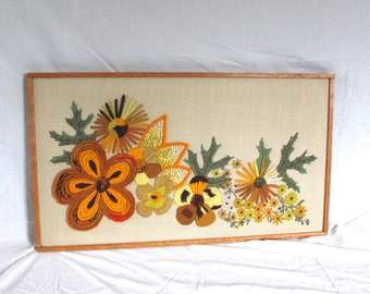LARGE vintage crewel picture, framed - Bucilla, flowers, 1970s colors, orange, brown, yellow, harvest gold, wood frame, so retro!