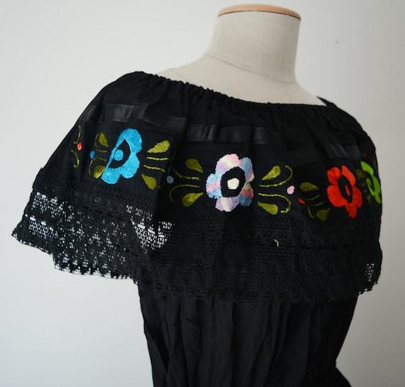 Mexican dress off shoulder black multicolor embroidered